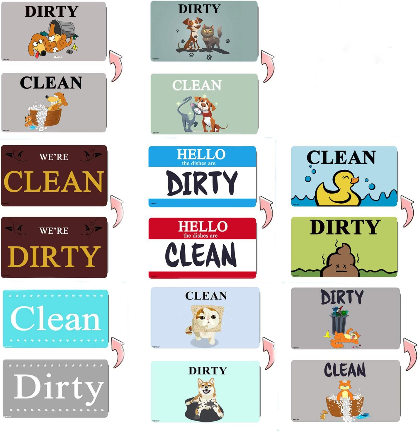 """8 pack 3.2"""" X 2"""" Dishwasher Magnet Clean Dirty Sign 