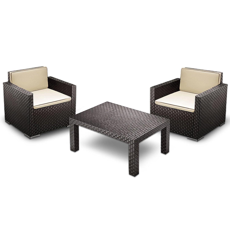 amazon.de: lounge set sitzgruppe inkl. tisch und stühlen - rattan ... - Sitzgruppe Im Garten Gartenmobel Sets