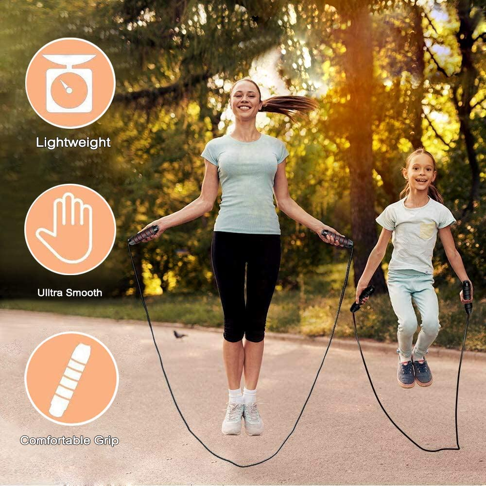 Women Jump Rope Adults and Kids Skipping Rope Tangle-Free with Ball Bearings Rapid Speed Jump Rope and Memory Foam Handles Exercise Fitness Adjustable Jumping Rope Workout for Men