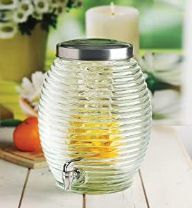 Circleware Beehive Glass Beverage Dispenser with Lid, Sun Tea Jar with Spigot Kitchen Glassware Water Pitcher for Juice, Wine, Kombucha and Cold Drinks, Entertainment Drink Drinks, Huge 3.5 Gallon