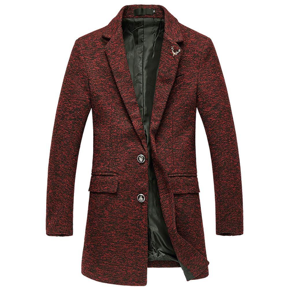 Men's Windbreaker Coat,G-Real Autumn Winter Medium Length Casual Button Lapel Long Jackets Outwear