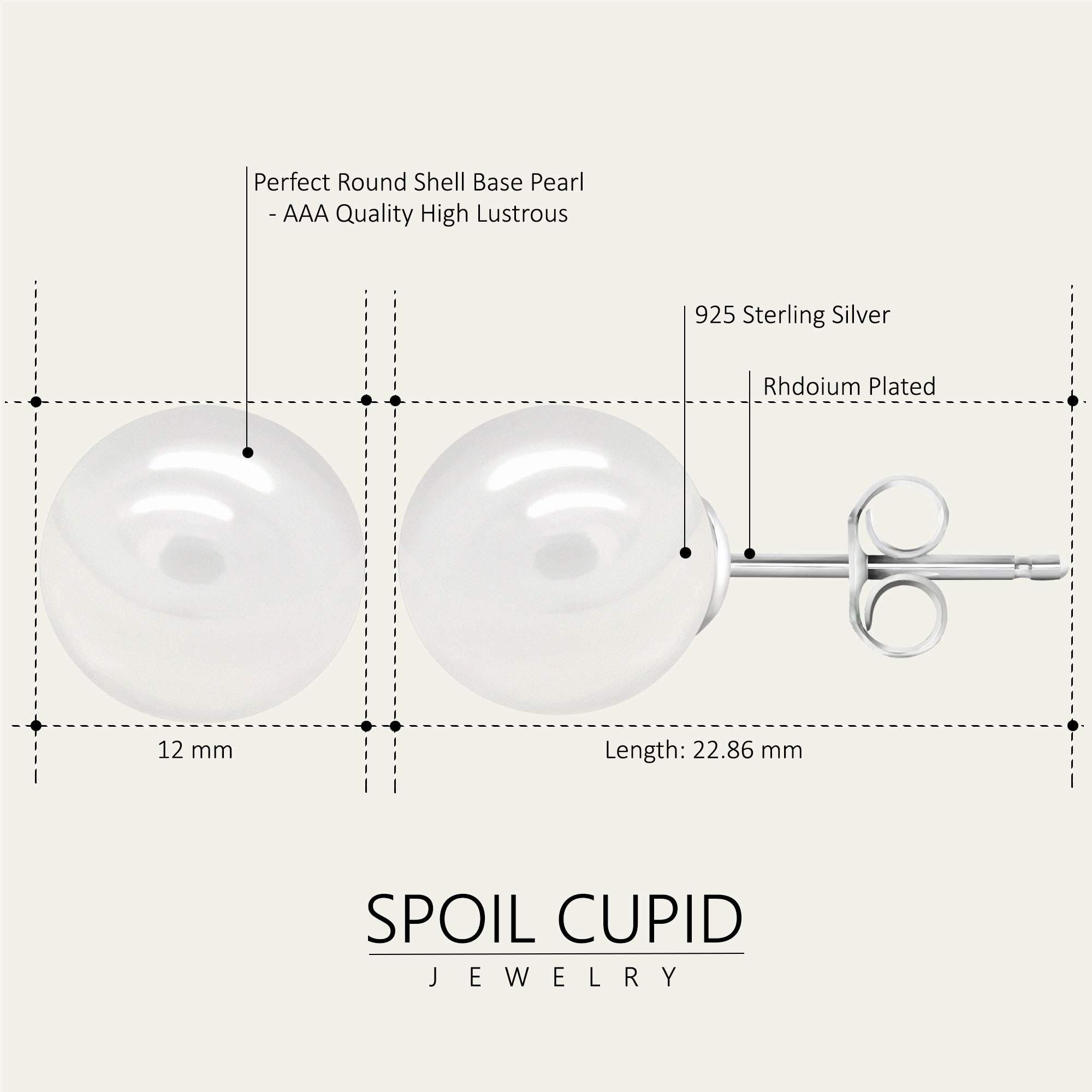 White Smooth Round Shell Base Imitation Pearl Rhodium-Plated 925 Sterling Silver Stud Earrings, 12mm