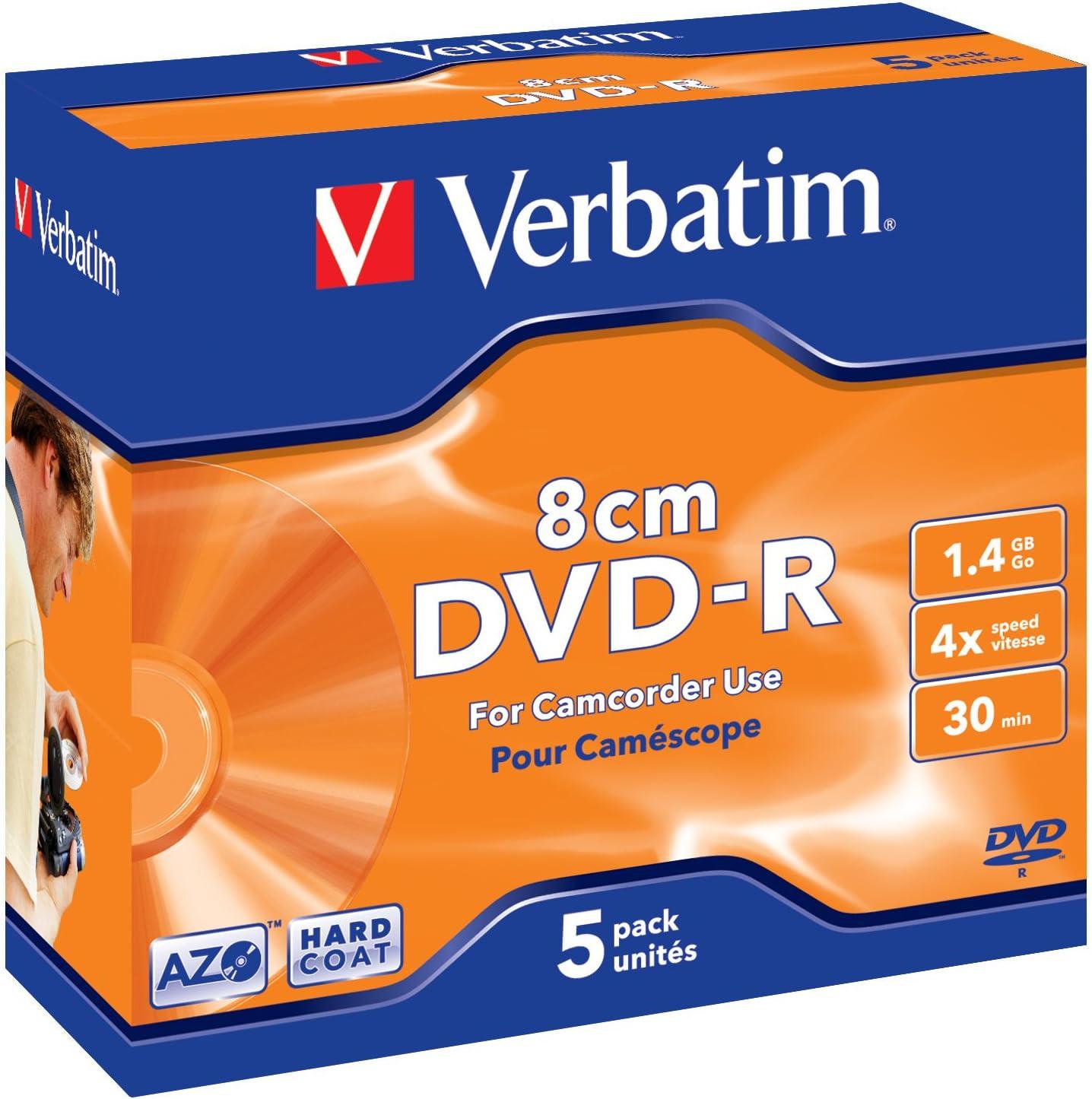 Verbatim 319542 - Pack de 5 DVD-R de 1.4 GB: Verbatim: Amazon.es: Informática