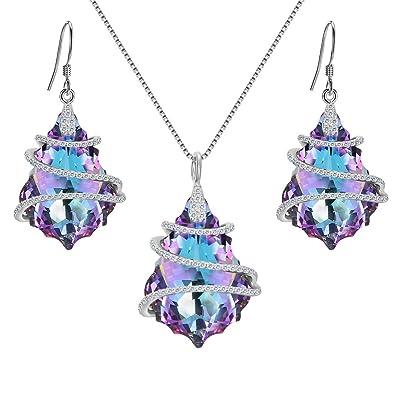 Amazon.com  EVER FAITH 925 Sterling Silver CZ Baroque Pendant Jewelry Set  Purple Adorned with Swarovski Crystal  Jewelry 7a8e8c3026