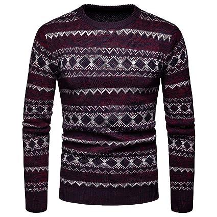 LuckyGirls Suéter para Hombre Camisetas De Navidad Punto Estampado De Geometría Abrigos Chaquetas