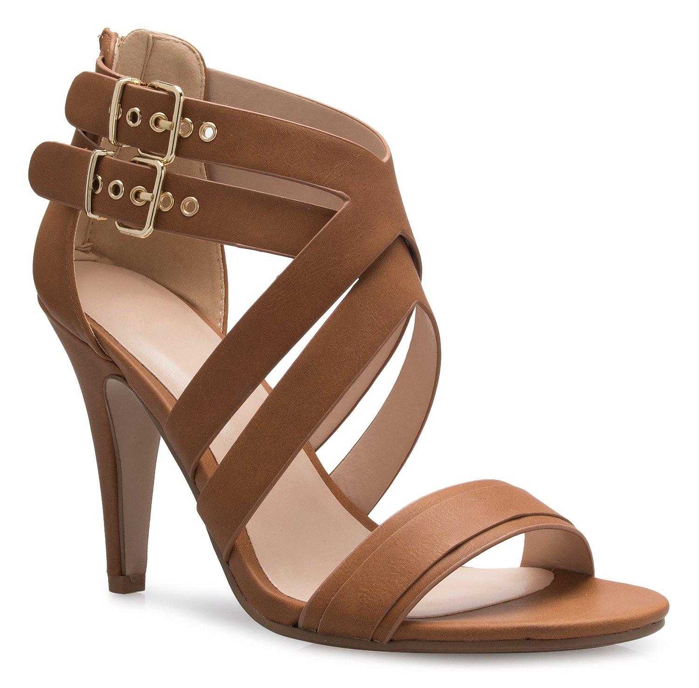 OLIVIA K Women's Sexy Modern High Heel Sandals Strappy Zipper Adjustable Buckles - Unique, Comfort