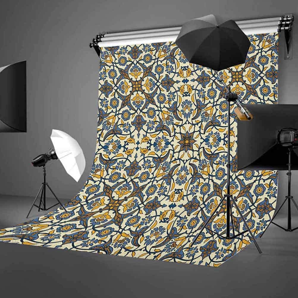 8x12 FT Turkish Pattern Vinyl Photography Backdrop,Stylized Flowers in Arabesque and Traditional Style Background for Baby Birthday Party Wedding Studio Props Photography