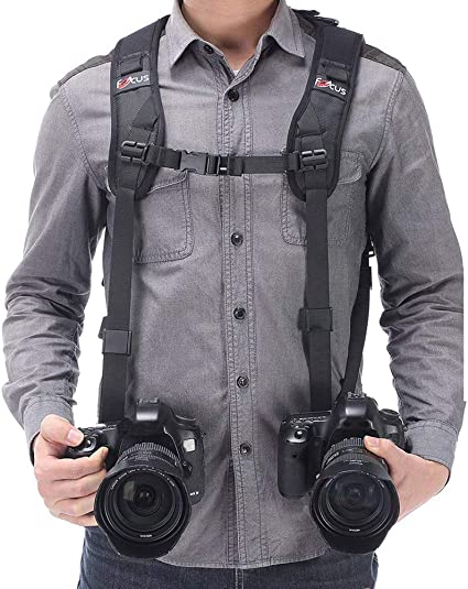 1# Lightweight Anti‑Breakage Leather Camera Strap Double Shoulder Harness Strap for DSLR Cameras