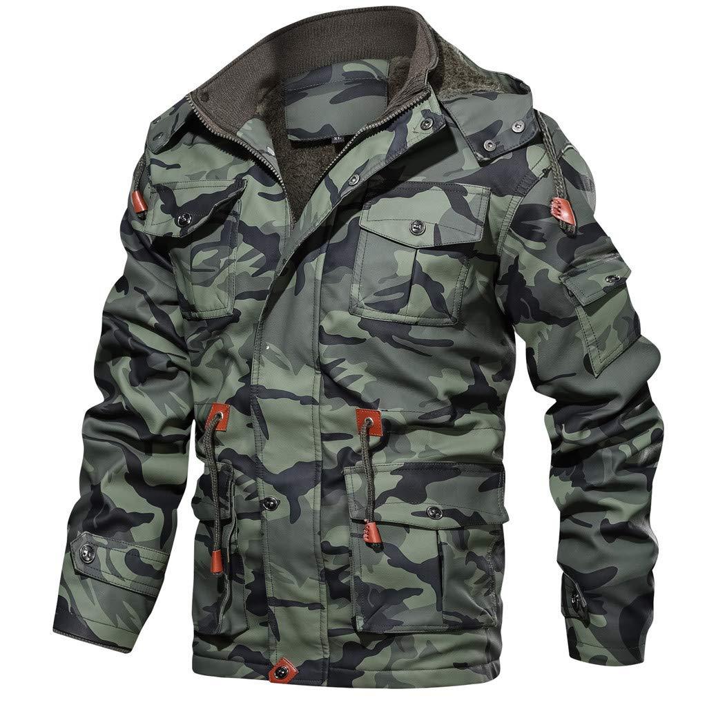 Men Camouflage Jacket, NDGDA Male Vintage Plus Velet Warm Autumn Winter Zipper Hoodie Drawstring Coat by NDGDA 🔰 Men's Jacket & Coat