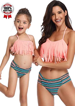 a835573ebf7fb Amazon.com  Swimsuits for Girls Women Bathing Suit Tassels Family Matching  Swimsuits Mom and Daughter Swimwear Bikini  Clothing