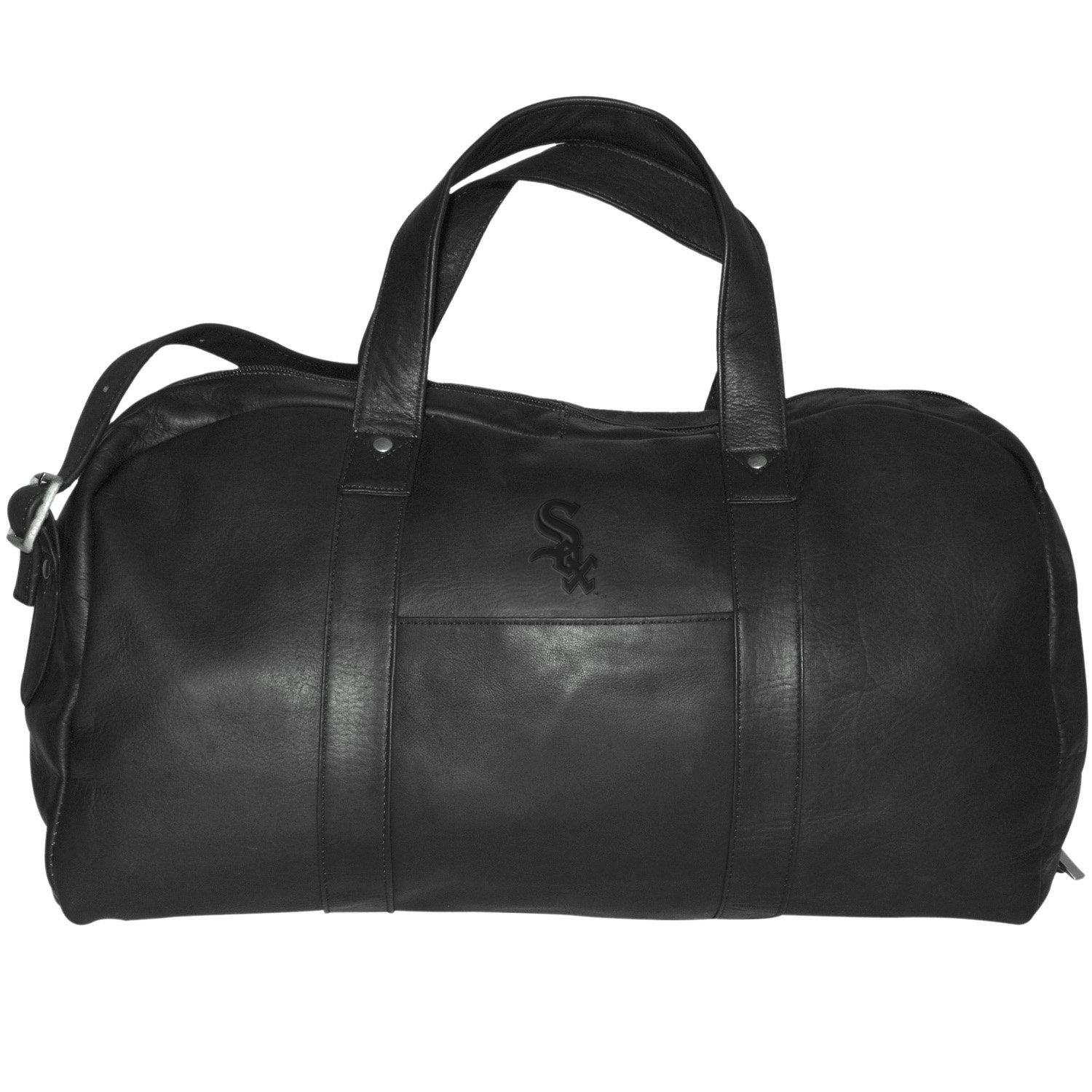 MLB Chicago White Sox Black Leather Corey Duffel Bag