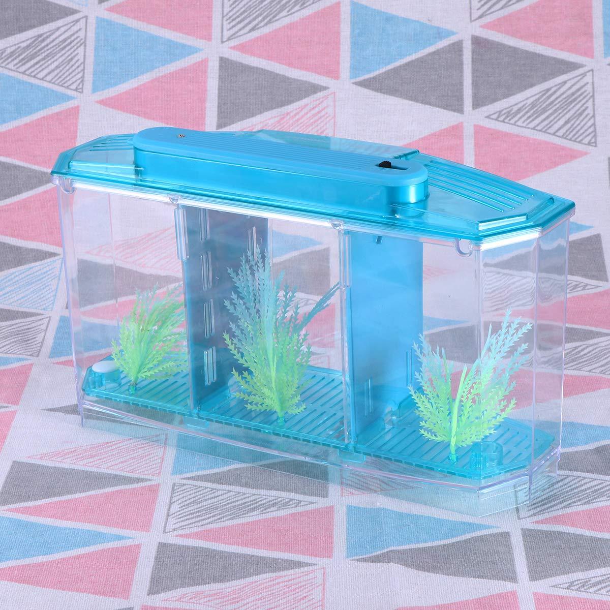 POPETPOP Mini Desktop Aquariums Fish Tank Ecological Goldfish Tank Hatchery Breeder Box for Living Office and Home dÃcor(Blue) by POPETPOP (Image #9)