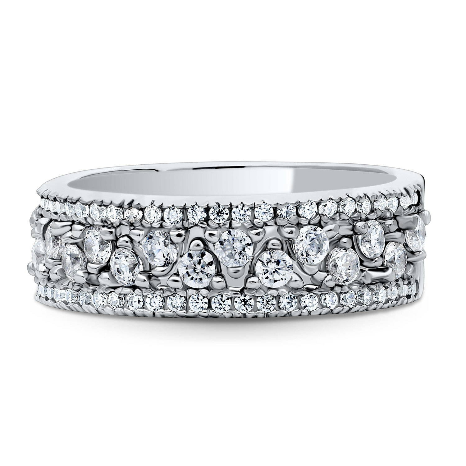 BERRICLE Platinum Plated Sterling Silver Cubic Zirconia CZ Sawtooth Stackable Ring Set Size 5