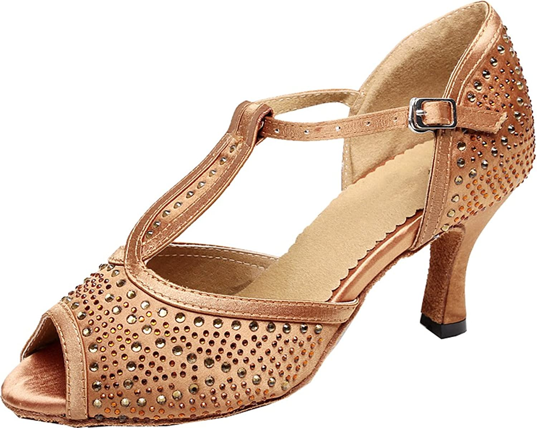 Abby Womens Fashion Latin Tango T-bar Rhinestone Peep Toe Satin Professional Dance-shoes