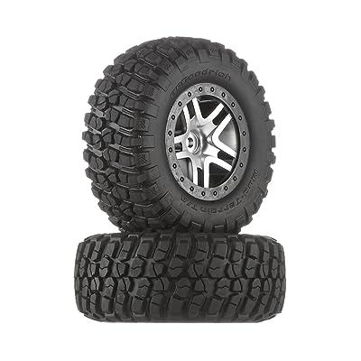 Traxxas 6873 BF Goodrich Mud Terrain T/A KM2 Tires Pre-Glued on Satin Chrome, Black Beadlock-Style Wheels (pair): Toys & Games