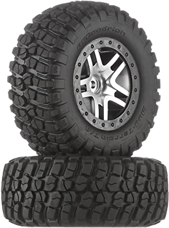 Traxxas 6873 BF Goodrich Mud Terrain T/A KM2 Tires Pre-Glued on Satin Chrome, Black Beadlock-Style Wheels (pair)
