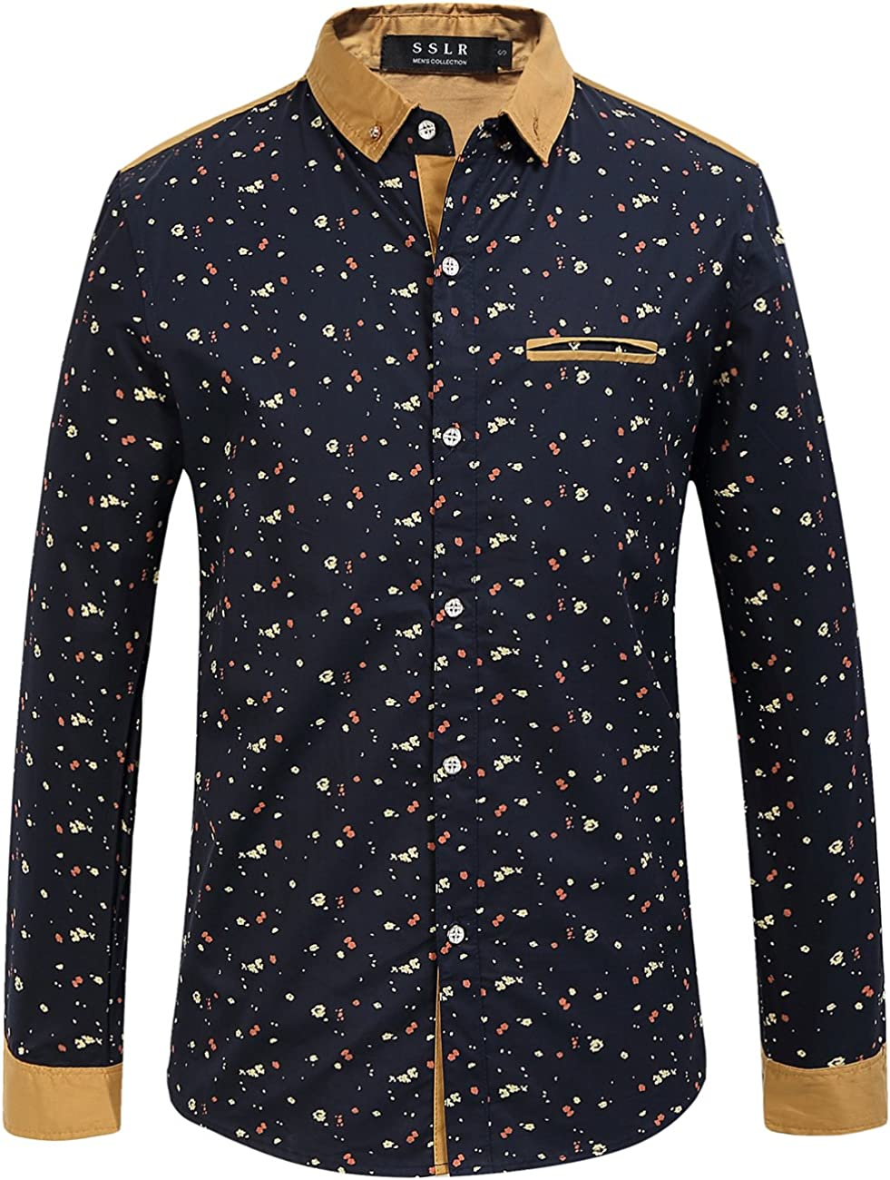 Men/'s 100/% Cotton Long Sleeve Casual Shirts Slim Fit Button Down Dress Shirts GW
