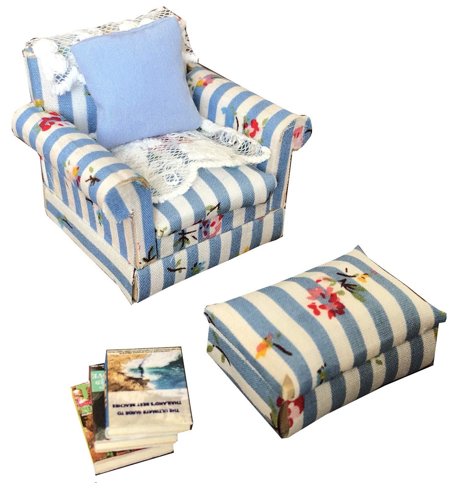 Inusitus Set of Matching Dollhouse Sofa /& Armchair red Check 1//12 Scale Dolls House Furniture Couch /& Chair Red Checkered