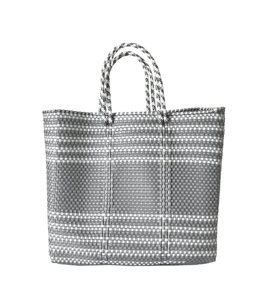 (レトラ) Letra メルカドバッグ BORDER&pattern M mercado-bag-bomidi-m B07D53WL74 M シルバーボーダー シルバーボーダー M