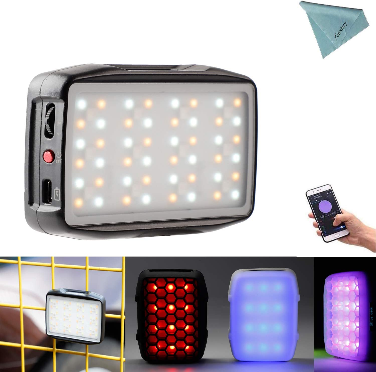 Falcon Eyes F7 Mini 5W RGB LED On Camera Light 2500k-9000k CRI 96 HSI Mode,Support Magnetic Attraction and Smartphone App Control for Vlog,YouTube,Tiktok,Live Broadcast