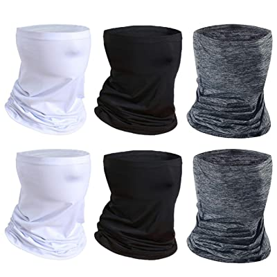 Neck Gaiter Bandanas Face Scarf Mask for Men and Women, Anti Dust Sun Protection Breathable for Fishing Hiking Running Cycling (2Black-2White-2Gray): Automotive