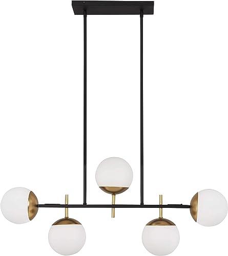 George Kovacs P1355-618 Alluria 5 Light Island Light, 375 Watt Total, Weathered Black w Autumn Gold