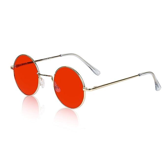 Amazon.com: Sunny Pro Retro Gafas de sol redondas, lentes de ...