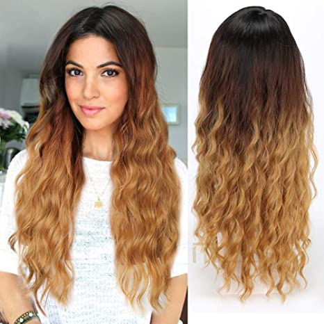 Missqueen Ombre Hair 3 Tone Dark Blonde Wavy Wigs For Black Women Synthetic Hair Loose Curly Full Wig Dark Root