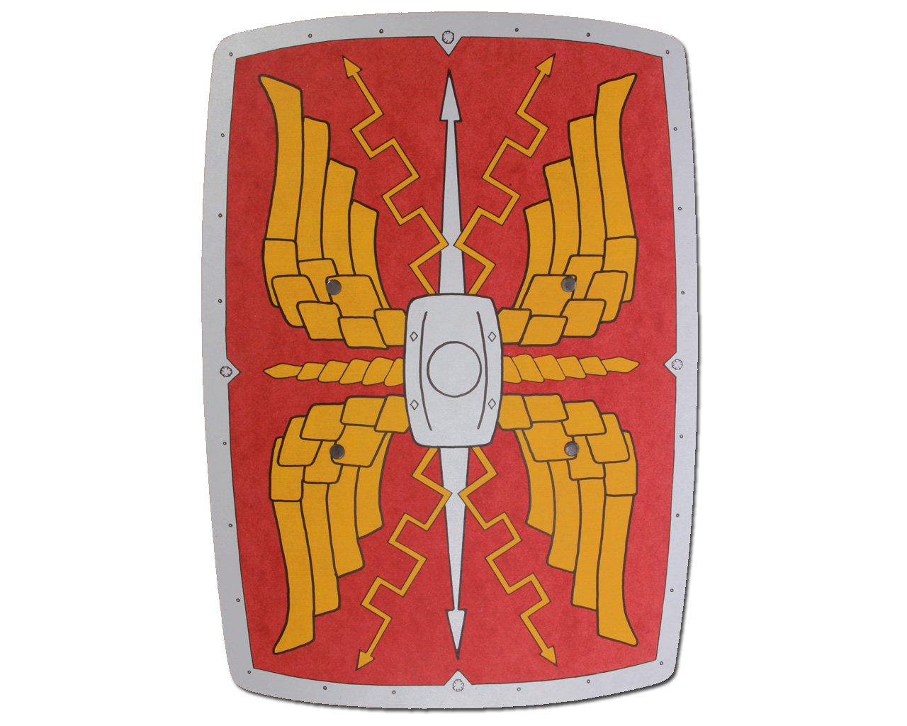 Rectangular Roman Wooden Shield (Red Silver & Gold) - Accessory A2Z Kids 185