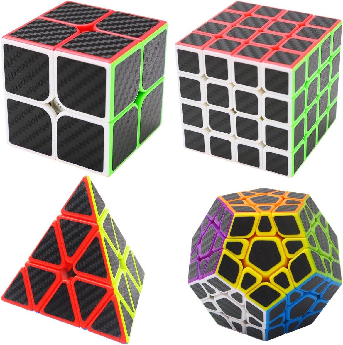 Coolzon Puzzle Cubes Megaminx + Pyraminx + 2x2x2 + 4x4x4 4 Pack Cubo Magico con Pegatina de Fibra de Carbono Velocidad
