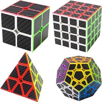 Coolzon Puzzle Cubes Megaminx + Pyraminx + 2x2x2 + 4x4x4 4 Pack Cubo Magico con Pegatina de Fibra de Carbono Velocidad: Amazon.es: Juguetes y juegos
