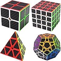 Coolzon® Magic Puzzle Cube Speed Cubes 4 Pack 2x2x2 + 4x4x4 + Pyraminx Pyramid + Megaminx Carbon Fiber Sticker