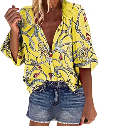N /A Alebaba Brand - Tops. Camisa Mujer Bohemia Cuello en V ...
