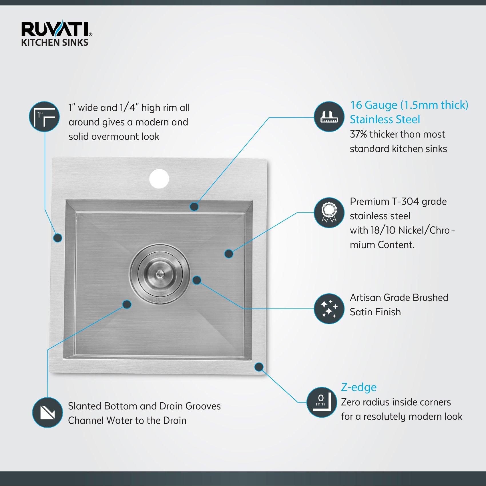 Ruvati 15 x 15 inch Drop-in Topmount Bar Prep Sink 16 Gauge Stainless Steel Single Bowl - RVH8115 by Ruvati (Image #1)