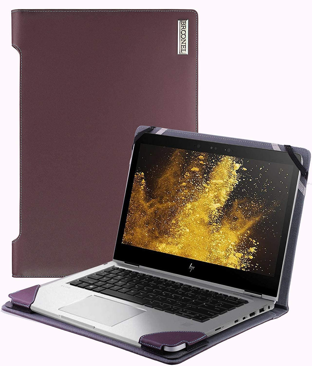 Broonel - Profile Series - Purple Leather Laptop Case Compatible with The HP Pavilion 13-an0029nf Ultraportable PC 13.3 ''