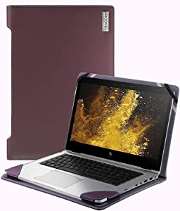 "Broonel - Profile Series - Purple Leather Laptop Case Compatible with The HP EliteBook x360 830 G6 13.3"" FHD Touchscreen Convertible Laptop"
