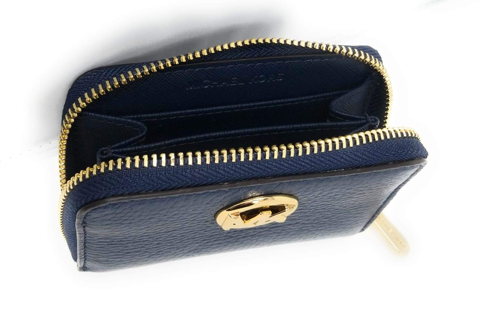 Michael Kors Fulton Leather Zip Around Coin Case (Navy)