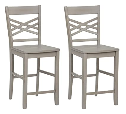 Admirable Ravenna Home Luna Rustic Wood Counter Stool 40 5H Distressed Grey Set Of 2 Ibusinesslaw Wood Chair Design Ideas Ibusinesslaworg