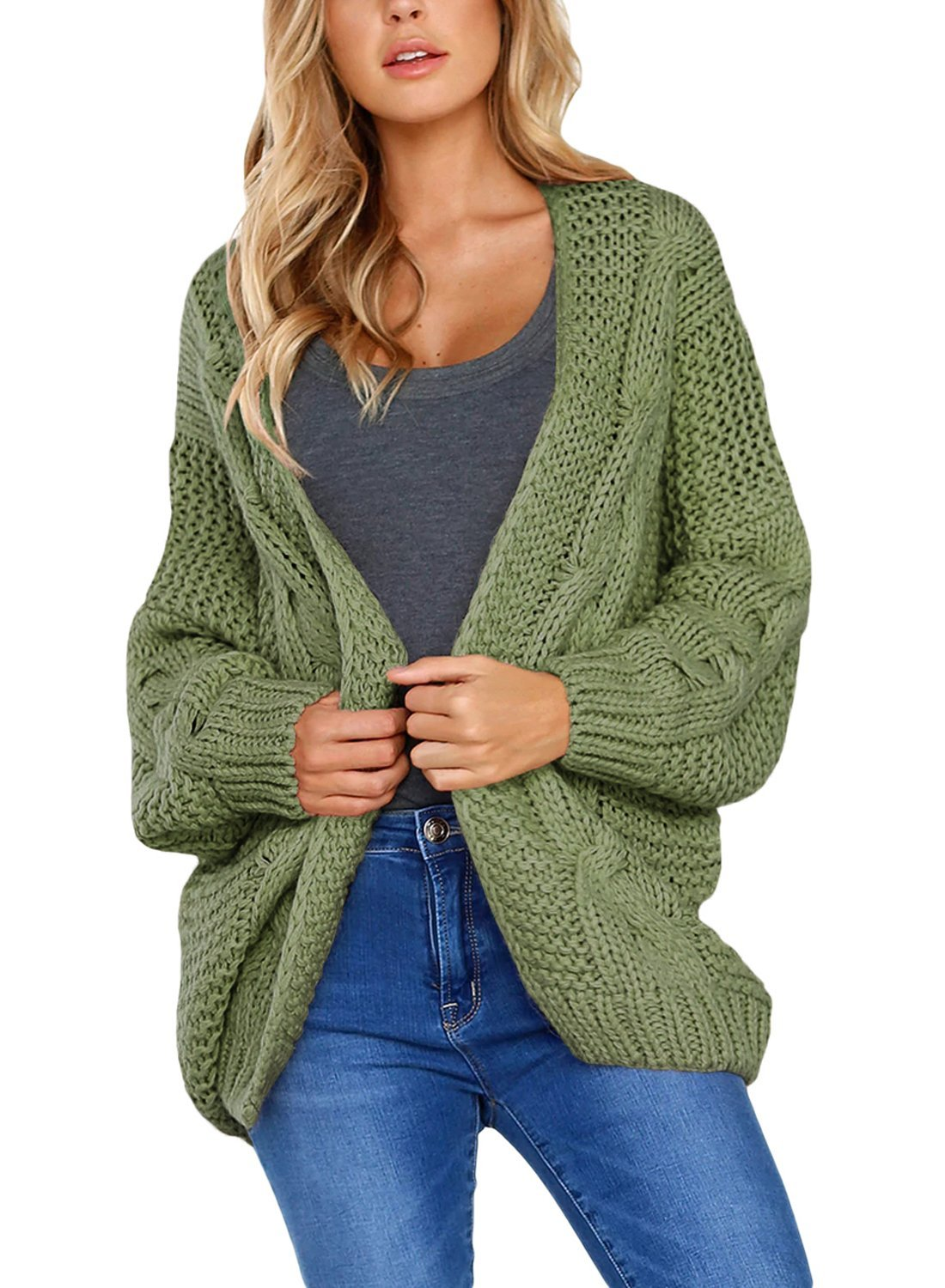 Women's Casual Long Sleeve Open Front Chunky Cable Knit Cardigan Sweaters Loose Oversized Outwear Coat Jacket Green M 8 10