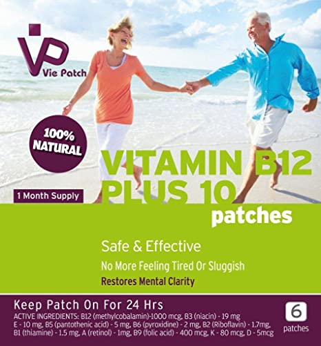 Vie Patch - La vitamina B12 PLUS 10 - 18 parches. No más sensación de
