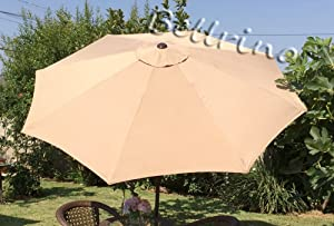 BELLRINO DECOR Replacement Light Coffee/Sand Strong & Thick Umbrella Canopy for 9ft 8 Ribs (Canopy Only)