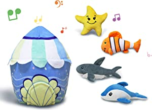 CREATIVE BONNIE Plush Toys Talking Stuffed Sea Animals Set for Kids, Babies and Toddlers, Includes 4 Pieces Realistic Sounding Stuffed Animal Toys - Dolphin, Shark, Clownfish and Starfish