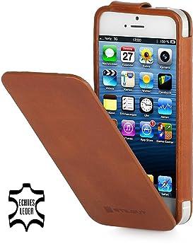 d7ce1eba521 StilGut Levin - Funda de piel con tapa para Apple iPhone 5 y iPhone 5s,  color marrón: Amazon.es: Electrónica