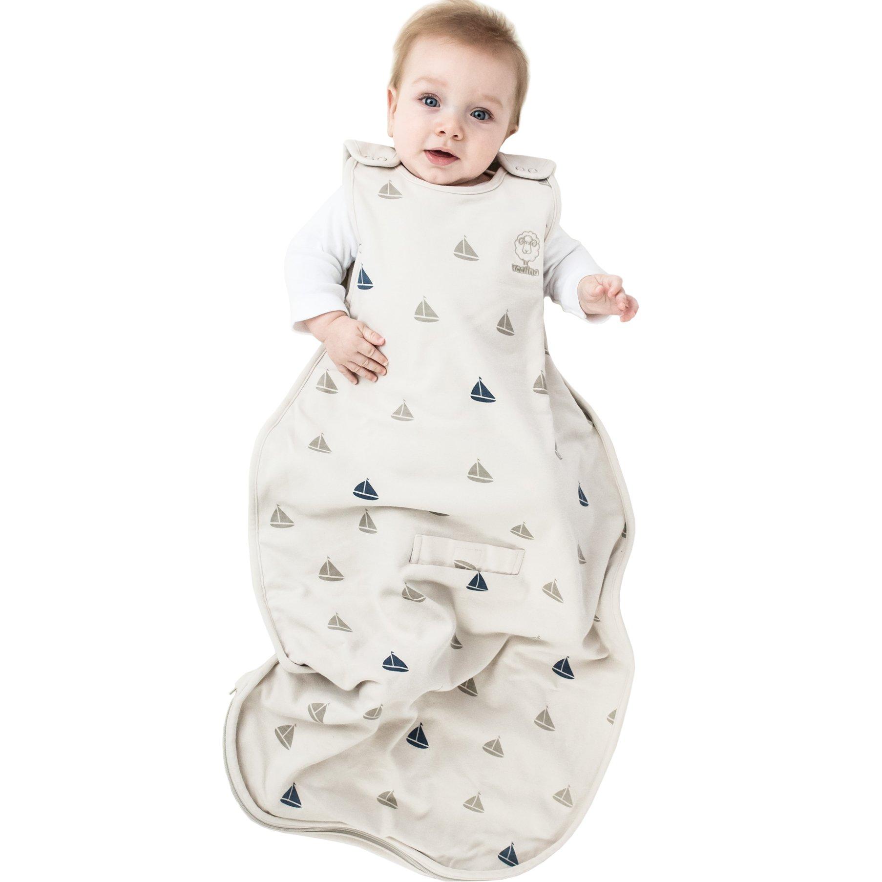 Woolino Baby Sleep Bag Or Sack by 4 Season Merino Wool Wearable Blanket Gown, 2-24 Months, Boats