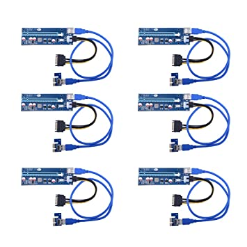 Sipolar 6-Pack-USB3 0 PCI-E PCI Express 1X to 16X Riser Card Adapter 6pin  MOLEX to 15 SATA Power Cable - GPU Riser Adapter - Ethereum Mining ETH  miner