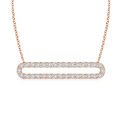 3d407ec71e2d Amazon.com  Lab Grown Diamond Elongated Oval Bar Necklace in 14k ...