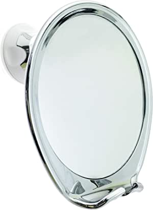 JiBen Fogless Shower Mirror with Power Locking Suction Cup, Built-in Razor Hook and 360 Degree Rotating Adjustable Arm, Personal Fog Free Bathroom Shaving Mirror (Chrome)