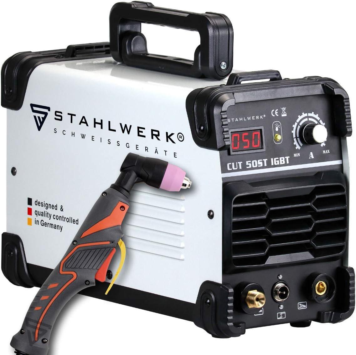 STAHLWERK CUT 50 ST IGBT de 50 Amperios, potencia de corte de hasta 14mm, adecuada para láminas de metal pintadas y películas oxidadas, 7 años de garantía