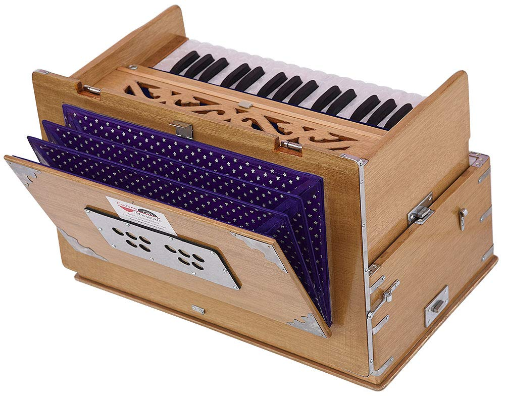 Safri Harmonium- 2¾ Octave By Kaayna Musicals-Portable, Traveler, Baja, 4 Stops (2 Drone), Two Set Reed- Bass/Male, Teak Color, Gig Bag, Tuning: 440 Hz, Suitable for Yoga, Bhajan, Kirtan, Mantra, etc by Kaayna Musicals (Image #3)