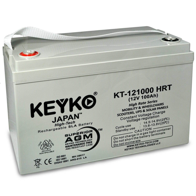Canadian Solar PV Solar Panels 12V 100 Ah Battery - Fresh & Real 100 Amp -  Deep Cycle AGM/SLA Designed for Solar - Genuine KEYKO KT-121000 HRT - IT
